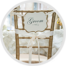 White Chair Cover for Chicago Groom